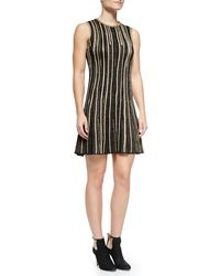 M Missoni Sleeveless Metallic Vertical-stripe Dress - Lyst