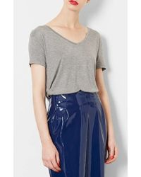 Topshop Jersey V-Neck Tee - Lyst