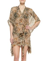 Diane Von Furstenberg Lima Animal Print Silk Cover Up - Lyst