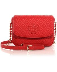 Tory Burch Marion Quilted Crossbody Bag red - Lyst