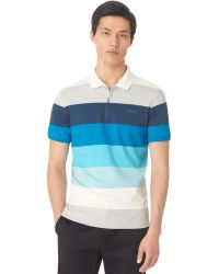 Calvin Klein Blue Colorblocked Polo - Lyst
