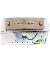 Alexander McQueen | Logo Metal Plate Floral Print Leather Bracelet | Lyst