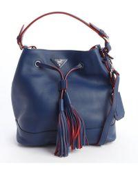 Prada Blue Leather Large Bucket Bag - Lyst