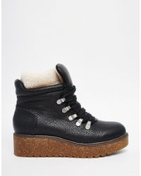 ASOS | Adaptive Faux Shearling Lace Up Ankle Boots | Lyst