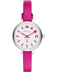 Marc By Marc Jacobs Women'S Sally Fuchsia Leather Strap Watch 28Mm Mbm1353 - Lyst