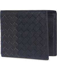 Bottega Veneta Intrecciato Leather Coin Wallet - For Men blue - Lyst