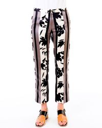 Marni Floral-print Satin Pants - Lyst