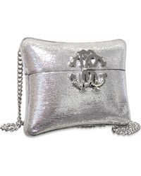 Roberto Cavalli Silver Laminated Leather Minaudiere Pillow Clutch W/Chain Strap - Lyst