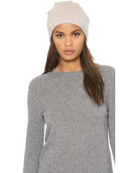 1717 Olive - Cashmere Rolled Cuff Slouch Beanie Hat - Lyst