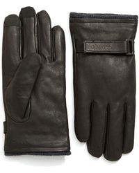 CALVIN KLEIN 205W39NYC - Belted Leather Gloves With Touchtips - Lyst