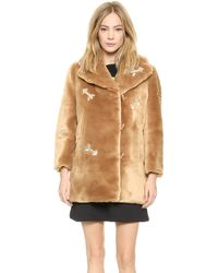 Carven Faux Fur Coat with Arrows - Camel - Lyst