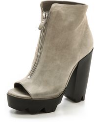 Vic Matie' Chunky Heel Open Toe Booties Grey - Lyst
