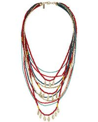 Topshop Bead Leaf Mult-Irow Necklace - Lyst