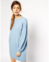 Asos Jumper Dress in Structured Knit with Balloon Sleeve - Lyst