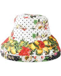 Dolce & Gabbana Lace Fan Print Cloche Hat - Lyst