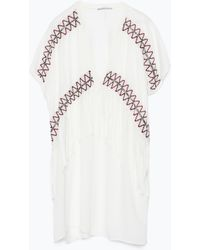 Zara Ethnic Tunic With Embroidery And Fringes - Lyst