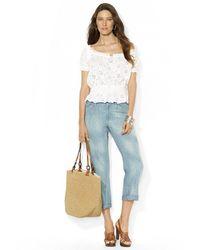 Lauren by Ralph Lauren Cotton Ankle Jeans - Lyst