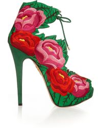 Charlotte Olympia Hibiscus Embroidered Satin Sandals - Lyst