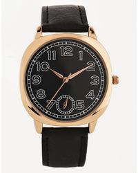 Asos Watch in Black and Rose Gold - Lyst