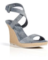 Burberry Suede Wedge Sandals - Lyst