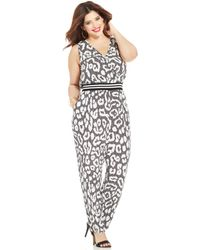Soprano - Plus Size Sleeveless Printed Jumpsuit - Lyst