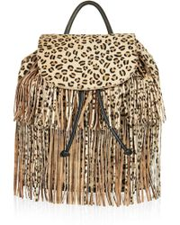 Topshop Premium Leopard Pony Backpack - Lyst