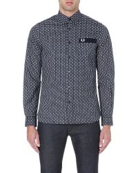 Fred Perry Drakes Archive Medallion Shirt Navy - Lyst