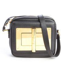 Tom Ford Black Leather Zip Top Natalia Crossbody Bag - Lyst