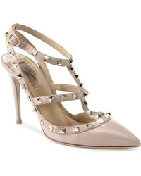 Valentino Patent Leather Rockstud Slingback Pumps - Lyst