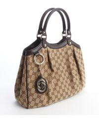 Gucci Beige and Brown Gg Canvas Sukey Top Handle Bag - Lyst