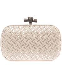 Bottega Veneta Knot Embroidered Leather Clutch - Lyst