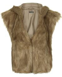 Topshop Faux Fur Hooded Cape - Honey - Lyst