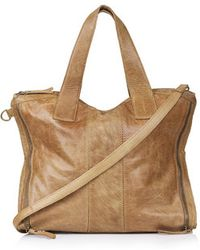 Topshop Brown Leather Holdall - Lyst