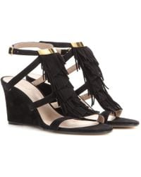Chloé Suede Wedge Sandals - Lyst