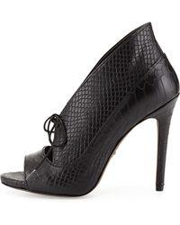 Pour La Victoire Vika Python Embossed Leather Pump - Lyst