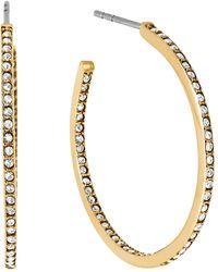 Michael Kors Pavé Small Inside Out Hoop Earrings gold - Lyst