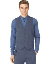 Calvin Klein Chambray Pickstitched Vest - Lyst
