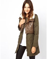 B+ab Bab Parka with Quilted Detail and Detachable Gilet - Lyst