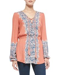 Free People Wildest Moments Crinkled Combo-print Top - Lyst