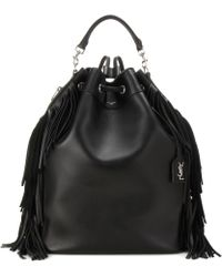 Saint Laurent - Fringed Leather Backpack - Lyst