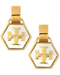 Tory Burch Pearlescent Geo Logo Earrings - Lyst