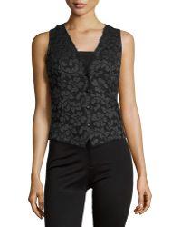 Carolina Herrera Lace Button-Down Blouse black - Lyst