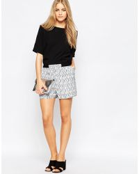 Just Female - Grape Shorts With Black Brush Print - Lyst