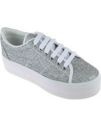 Jeffrey Campbell Zomg Sneakers Glitter Argento Pelle - Lyst