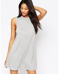 Asos T-Shirt Dress With Drop Arm Hole gray - Lyst