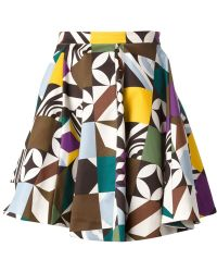 MSGM Geometric Print Mini Skirt - Lyst