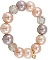 Carolee - Goldtone Blush Glass Pearl Stretch Bracelet - Lyst