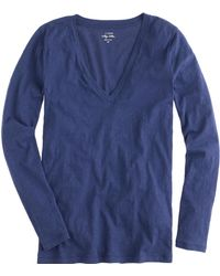 J.Crew Vintage Cotton Long-Sleeve V-Neck Tee - Lyst