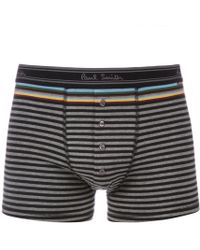 Paul Smith Black And Grey Stripe Four Button Boxer Trunks - Lyst