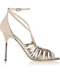 Jimmy Choo Legia Suede and Metallic Leather Sandals - Lyst
